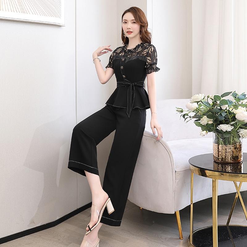 2020 verano nueva manga corta floja del temperamento de la manera ocasional de dos piezas de estilo occidental traje pantalón de pierna ancha YZefv gasa traje de las mujeres anchas le