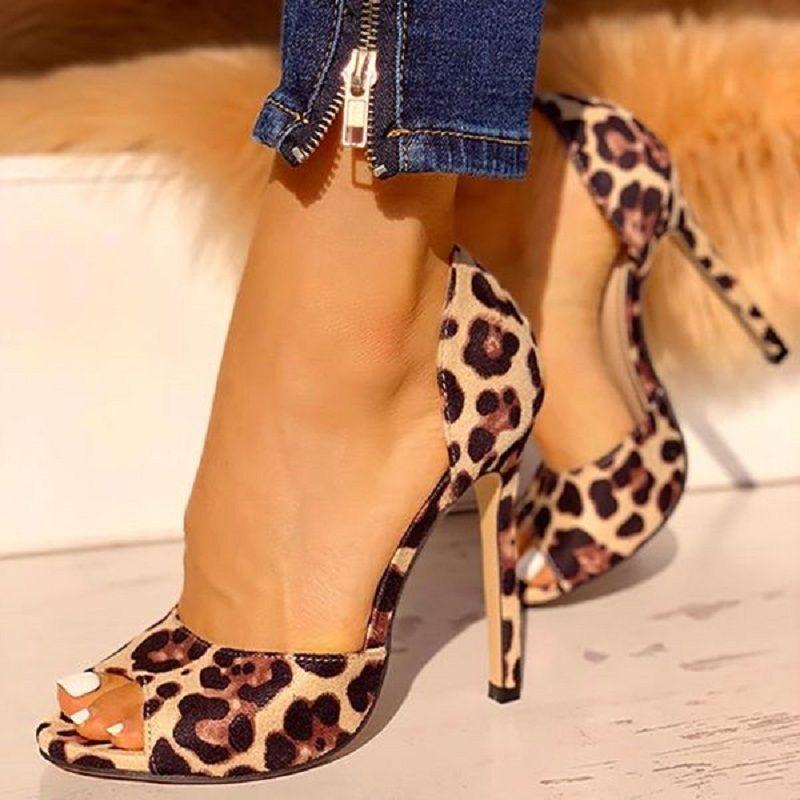 Mulheres Leopard Salto Alto Bombas Sexy Peep Toe Plataforma Office Senhoras sapatos Bridal Party Stiletto Wedding Shoes Zapatos Mujer