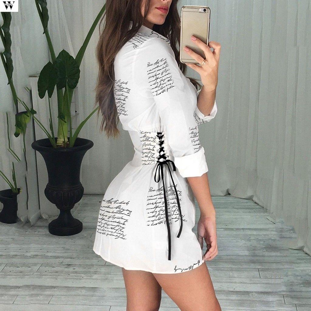 2019 Women Autumn Long Sleeve V neck T Shirt White Colour Casual Mini Office Dress 9.25 MX200804