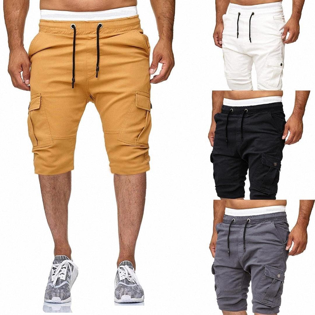 Femininos Verão Shorts Moda Casual Sólidos Men Lace Cor Big bolso Sports Academia Shorts p9O2 #