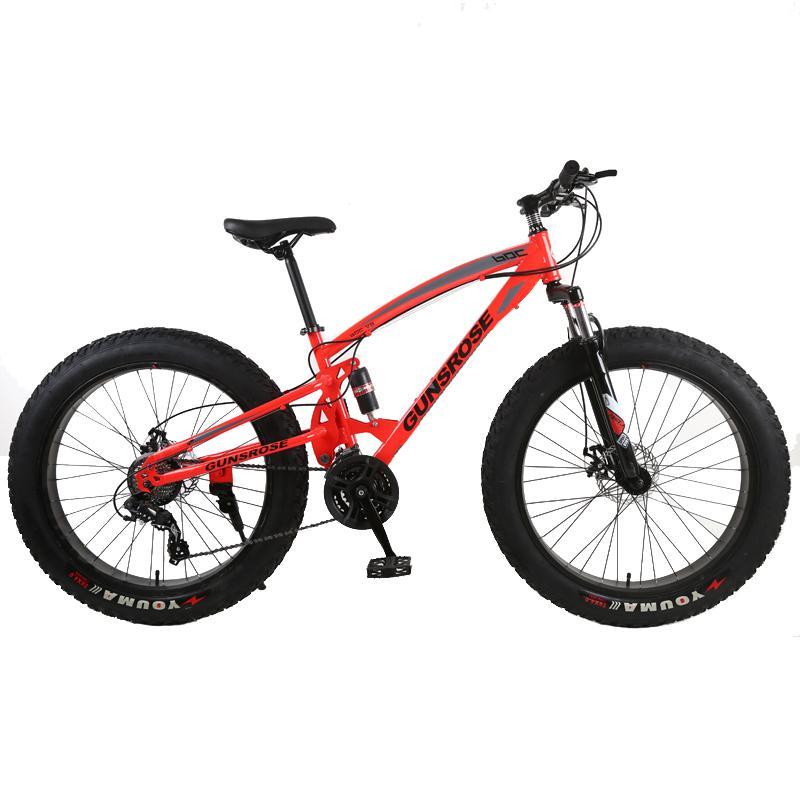 Mountain bike 4.0 fat bike Mountain bikes Double disc brakes beach bicycle snow bike light carbon steel 24/26 inch mountain bicycle