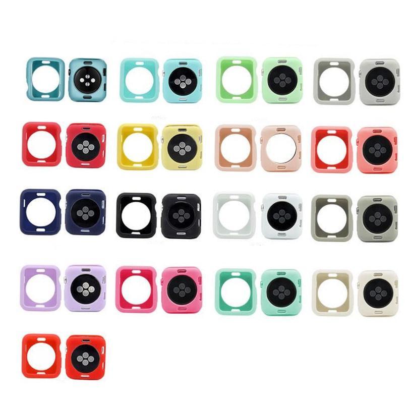 17 cores capa colorida relógio para a Apple Series Watch 1 2 3 4 5 TPU macio para iWatch 38 milímetros 40 milímetros 42 milímetros 44 milímetros Tela Protector Quadro