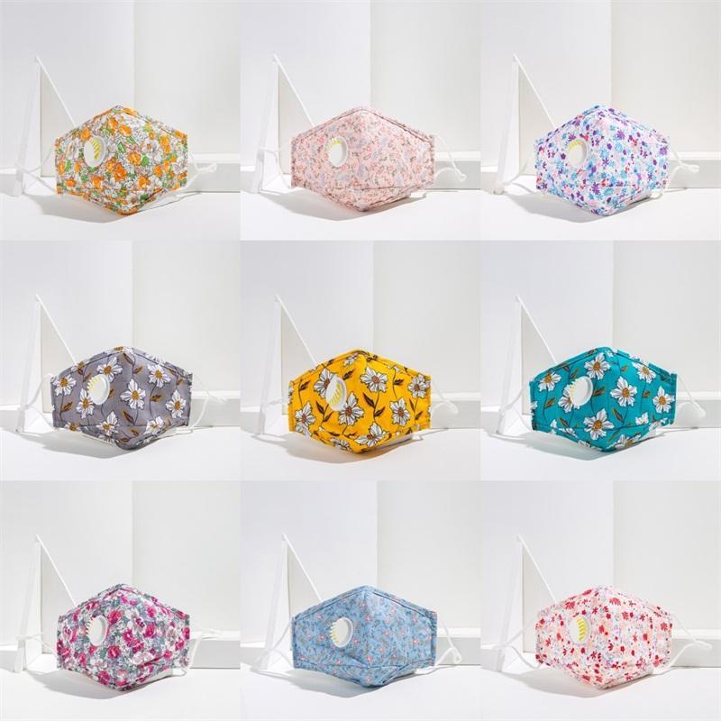Máscaras Impressão face flor de algodão reutilizável Moda Mascarilla pode colocar Filtro Pedaço Mascherine Adultos personalizada com válvula de 5 2xl C2