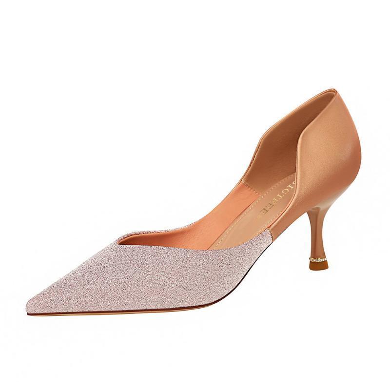 Женская обувь 2020 новых цветных блесток одиночные ботинок заостренная мягкое дно с мягкой пяткой высоких каблуков удобных сексуальными
