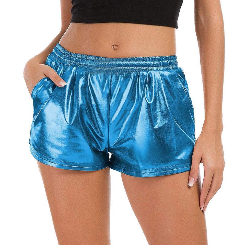 NEW 2020 Shorts femmes Mode femme taille haute Yoga Pantalons Sport Shorts Brillant Pantalons métalliques Jambières