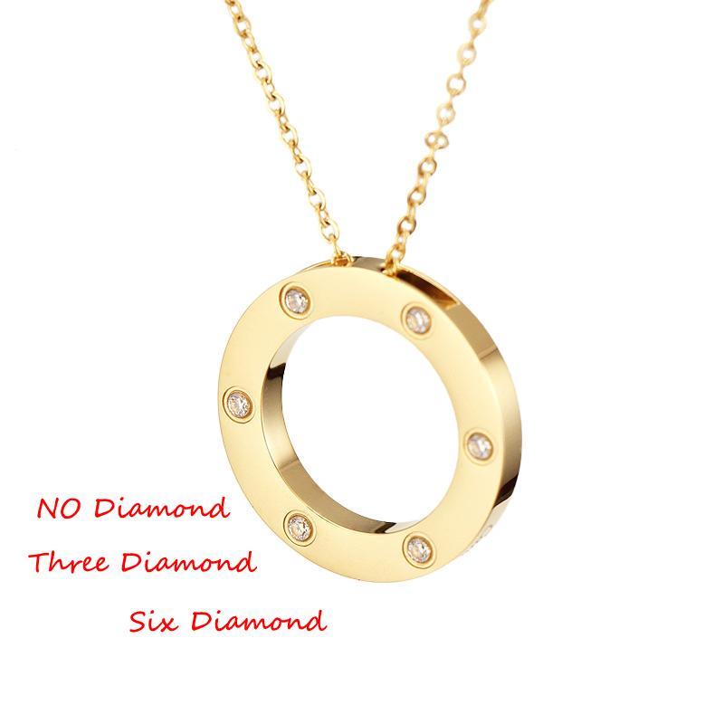 2020 collar colgante de doble círculo Hermosa joyería de la cadena de acero inoxidable colgante de collar con juego de bolsa