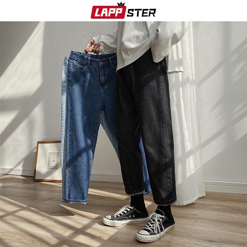 LAPPSTER Men Spring Black Korean Colors Jeans 2020 Mens Streetwear Blue Denim Pants Male Fashions Skinny Clothes Plus Size CX200820