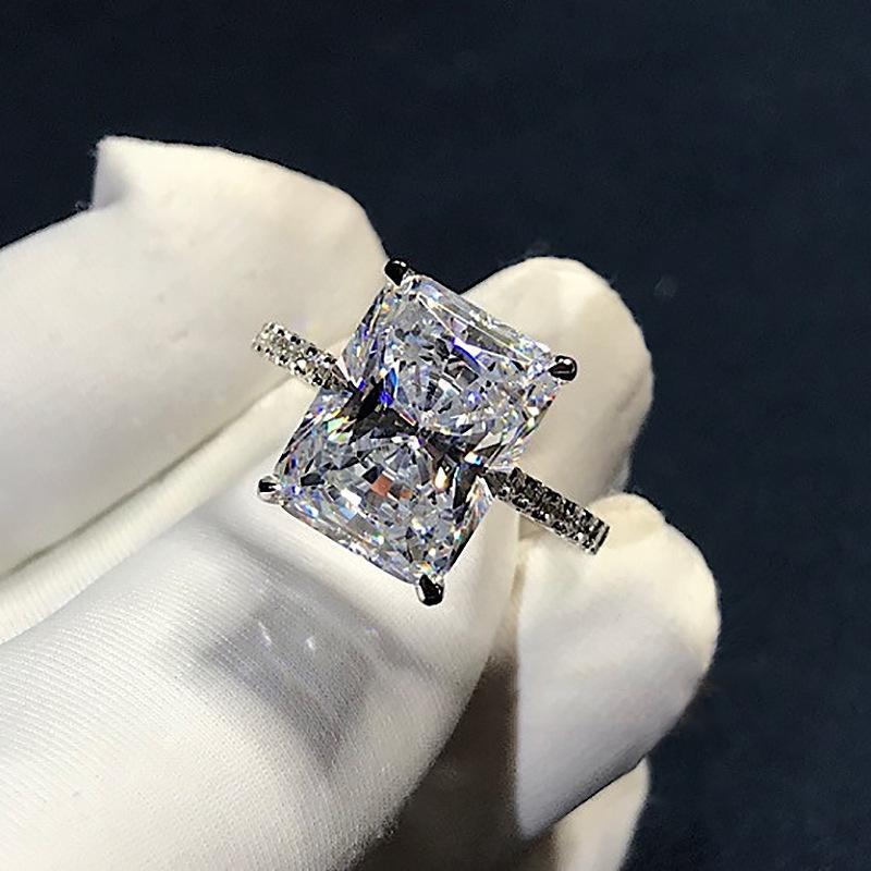 RUDIAN CUT 3CT Лаборатория Алмазное кольцо 925 Стерлинговое серебро Bijou Обручальное кольца для женщин Свадебные украшения