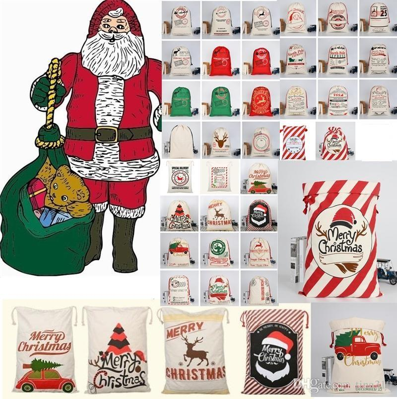 عيد الميلاد الجديد كبير قماش Monogrammable سانتا كلوز الرباط حقيبة مع حيوانات الرنة، Monogramable عيد الميلاد أكياس هدايا كيس A350