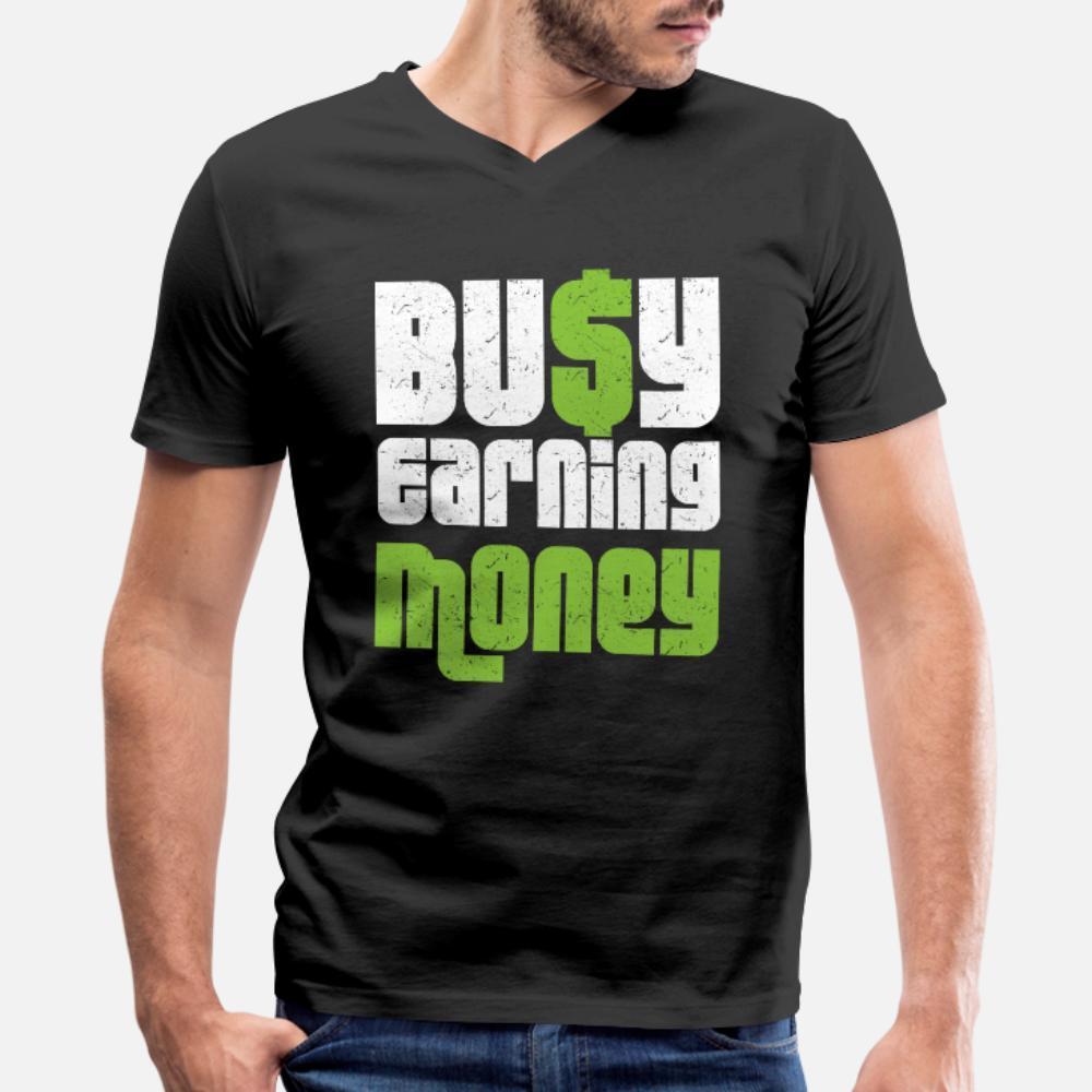 Gagner de l'argent t-shirt personnalisé hommes manches courtes Euro Taille S-3XL couleur unie Fit New Fashion Style Été chemise standard