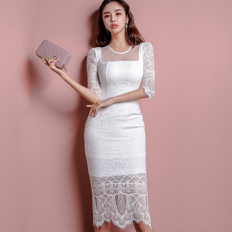 El vestido de las mujeres Mc6gM vestido del cordón 2020 nuevo estilo coreano de ajuste estrecho mitad de la longitud del cordón mediados de la manga envoltura de la manera para las mujeres