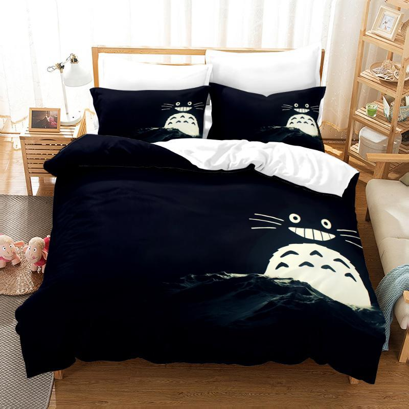 3D Neighbor Totoro Japan Bedding Set Duvet Cover Luxury for Kids Comforter Bedding Set 150 Bed Kids Twin King Size Bed