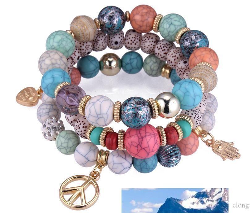Il nuovo arrivo Stati Uniti perline fai da te Livelli braccialetto di modo coperto 3 braccialetti Time Stretch scattano bracciali NK 164