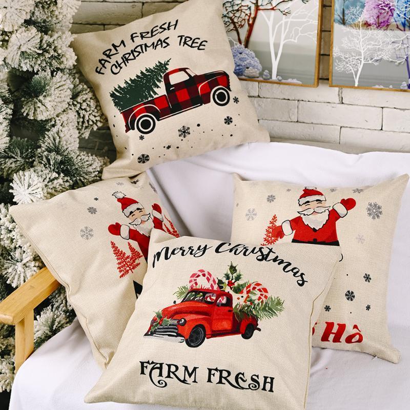 Taie d'oreiller Fournitures festives Merry Noël Coussin Coussin Linge Taie d'oreiller Creative Canapé de voiture pour la maison Noël