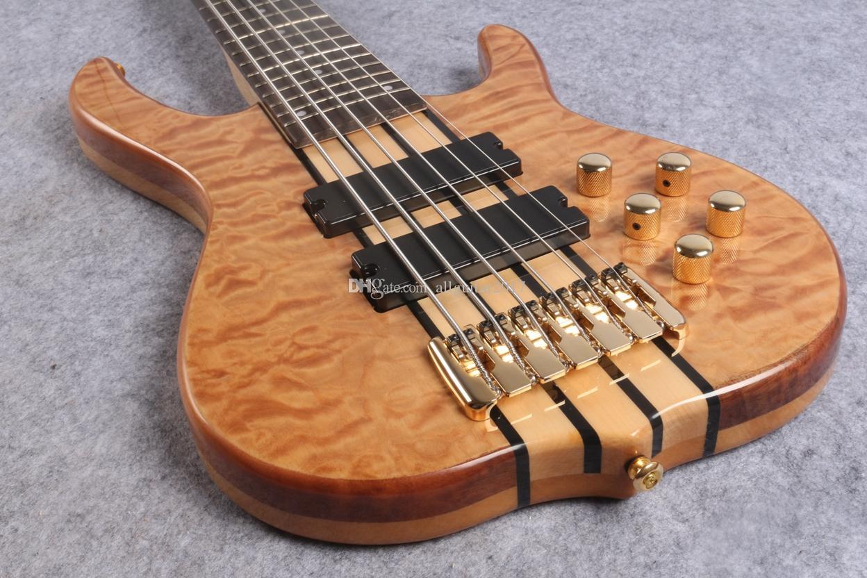 """6 string one piece body body и палисандр """"24 Фреты, золотые аппаратные средства и активные пикапы China Electric Guitar Bass"""