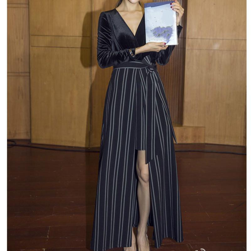 Nouveau Femmes Mode Slim V-cou velours à manches longues Ceinture Hem Slit Brochage rayé Mi-mollet Mesdames Robe