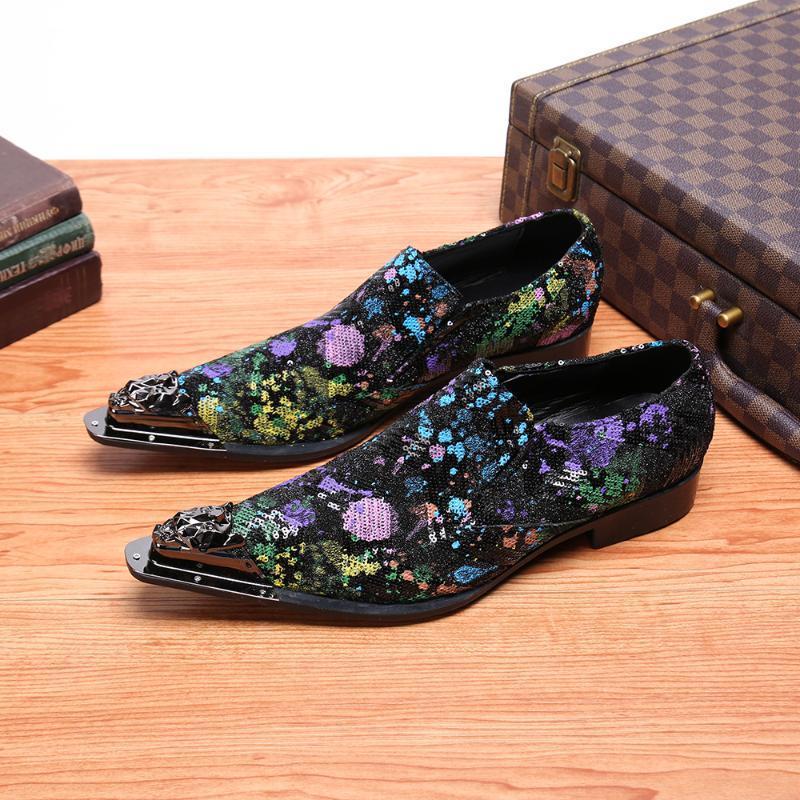 Sapatos Homens de Negócios Oxfords metal Pointed Toe Casual vestido de festa Moda Couro Sapatos