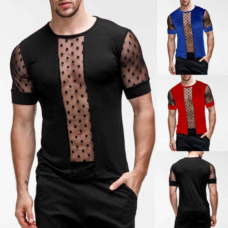 여름 패션 남자의 티셔츠 캐주얼 패치 워크 짧은 소매 티셔츠 망 의류 트렌드 캐주얼 슬림 피트 힙합 탑 티셔츠