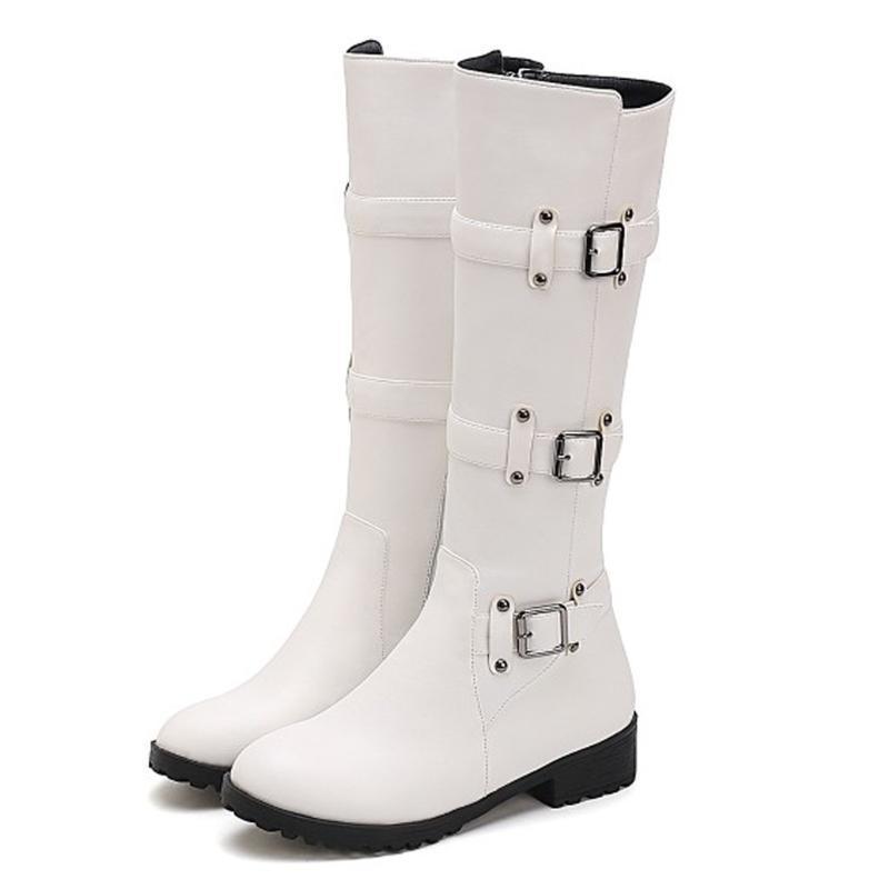 Botas con cremallera rodilla alta mujer hebilla blanca de punta cuadrada de punta sexy tacones de fiesta de talón grueso zapatos de invierno