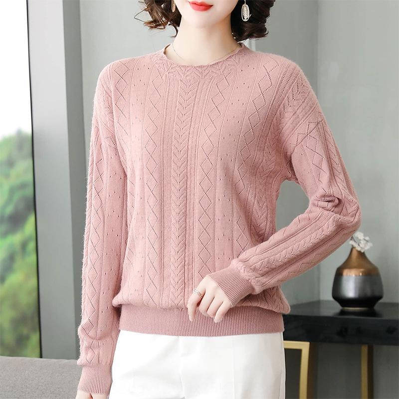 xIvOP pullover 2020 del jacquard nuovo collo della camicia di base dei vestiti stile coreano delle donne Top nRl9j pullover autunno maglione temperamento donne a