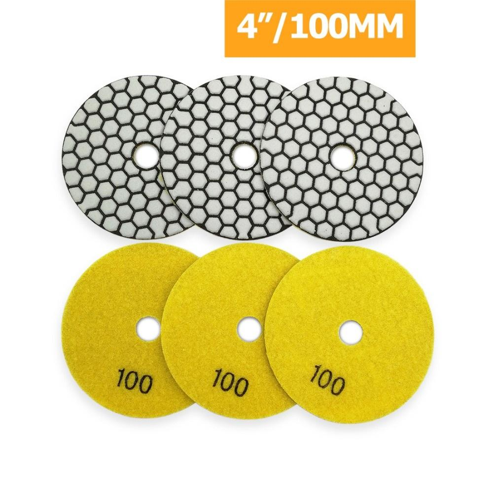 """6pcs 4"""" / 100mm fuertemente # 100 resina del diamante de unión en seco para pulir granito de piedra de mármol flexible disco de lijado de disco pulidor"""
