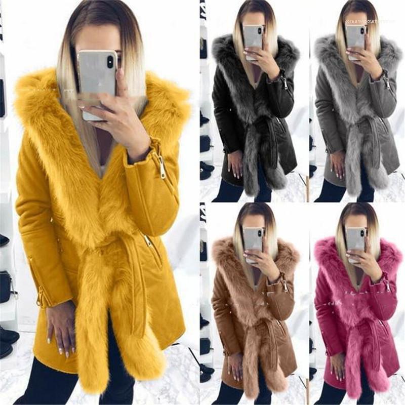 Coat Kış Kadın Giyim Artı boyutu Kadınlar Tasarımcı Coats Moda Yaka Boyun taklit kürk sıcak ile
