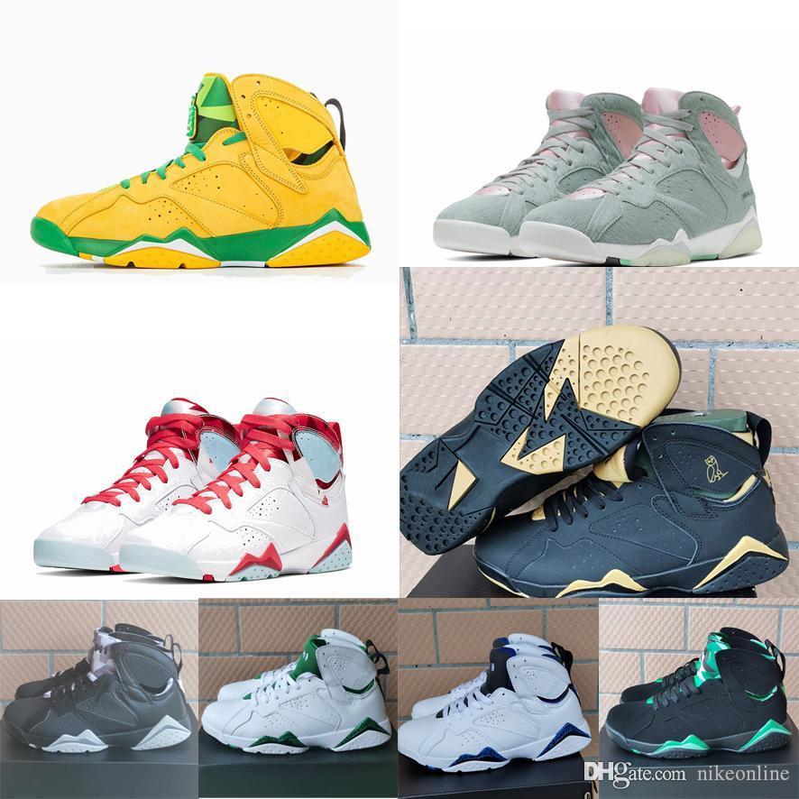Rétro 7s hommes Jumpman 7 VII chaussures de basket-ball nouvelle Oregon Ducks Vert Jaune Gris Lièvre Noir sneakers Ovo 2020 vols air tennis avec boîte