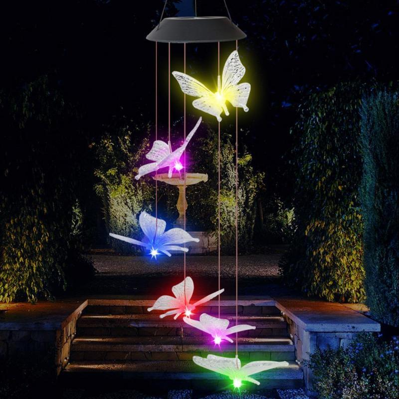 6LED Solar Mobile Luz IP65 Borboleta colorida Intelligent Optical Proof Controle de Umidade Wind Chime Garden Decoration