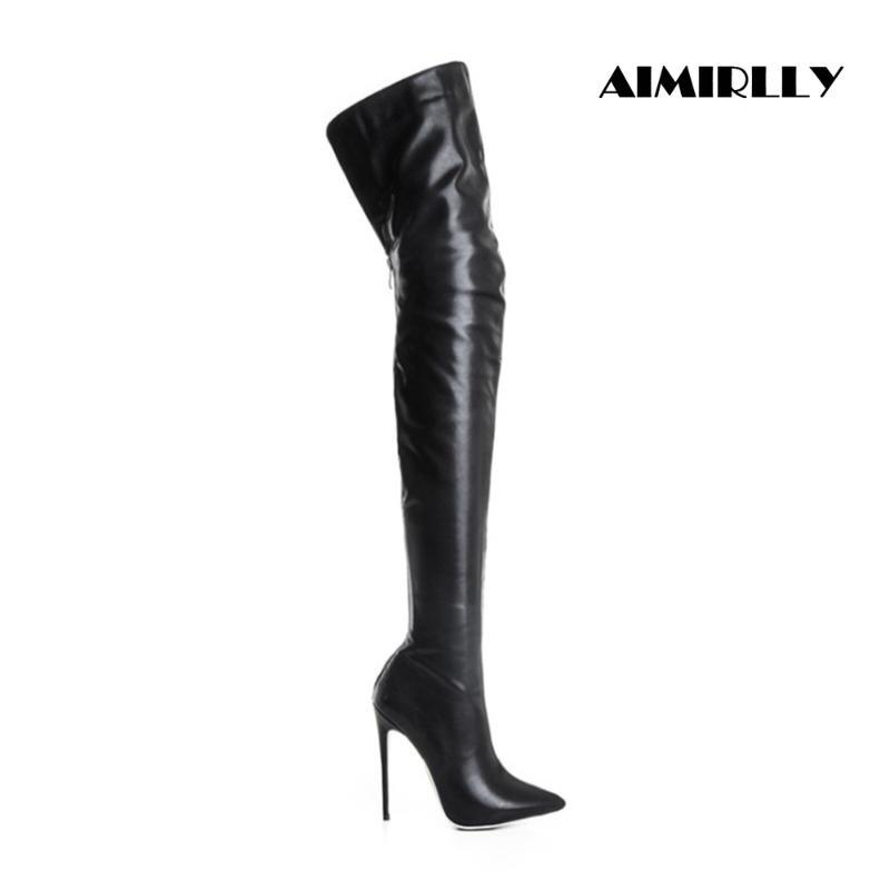 Die Schuhe der Frauen über das Knie-Aufladungen gezeigten Zehe-Absatz-Damen-Winter-Schenkel-hohe Stiefel Schwarz Kurz Reißverschluss Aimirlly