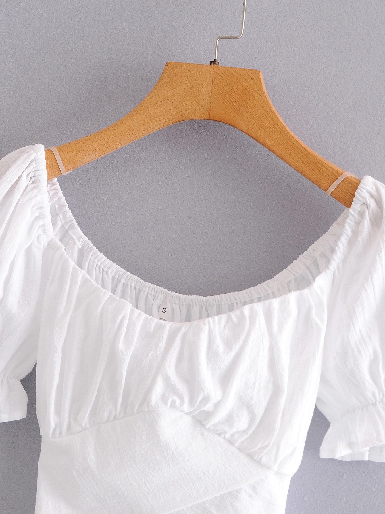 Kadınlar için Q0769-Rüzgar Kadın Giyim gömlek 2020 Yaz yeni kısa tek satırlık yaka bağcıklı kabarcık kollu gömlek