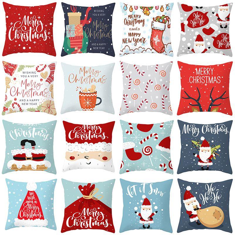 18 Stiller Merry Christmas Yastık Kış Dekor Mikro fibe yastık yüzleri noel Koltuk Yastık Kılıfı Yastık Kılıflar 45 * 45 cm yukarda atın Kapaklar