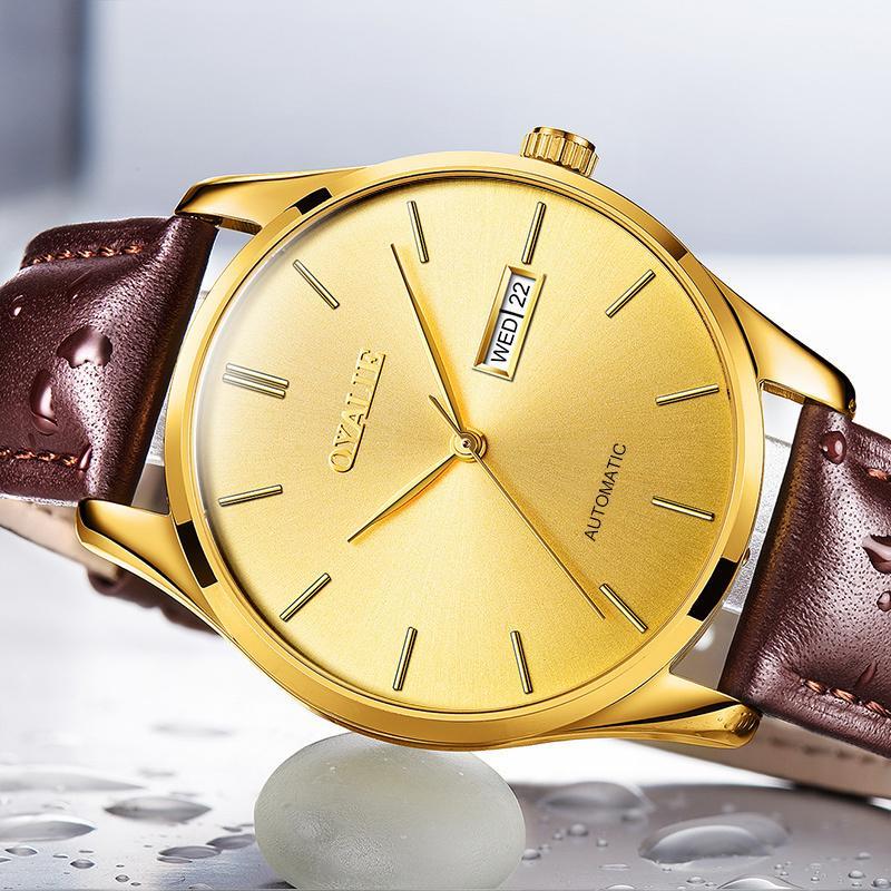 OYALIE Büyük Yüz Otomatik Saatler Erkek Lüks Altın Erkekler Mekanik Kol Üst Marka Deri Kayış İnsanın Saatler İzle Dial