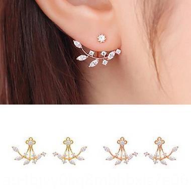 E15 Kore tarzı moda kız takı üst seviye Kristal elmas elmas kristal yaprak küpe şube zirkon küpe sonrası asılı