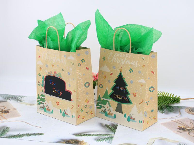 DIY Рождественский подарок сумки сувениры партии Box Новогодние украшения Санта Мешки крафт-бумажный мешок с ручкой