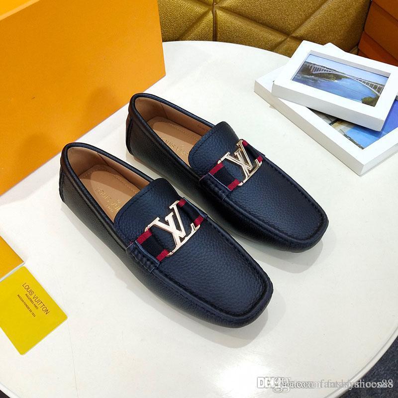качество Высокая мода мужские ботинки платья тисненая кожа кнопка металла Горох обувь вскользь плоские туфли классические кроссовки с коробкой