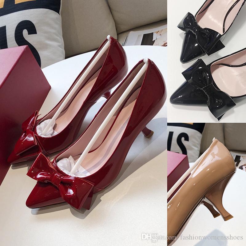 2020 Mulheres Moda Salto Alto Sapatos de couro macio Schuhe bowknot fivela e couro genuíno Sola 6,5 cm de noiva Wedding Shoes