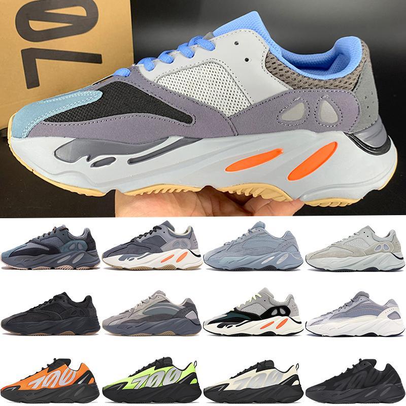 Kutu ile Yeni kanye west 700 v1 v2 MNVN Yansıtıcı Karbon Mavisi grafiti mıknatıs Turuncu Kravat boya Vanta erkek koşu ayakkabıları kadın sneakers