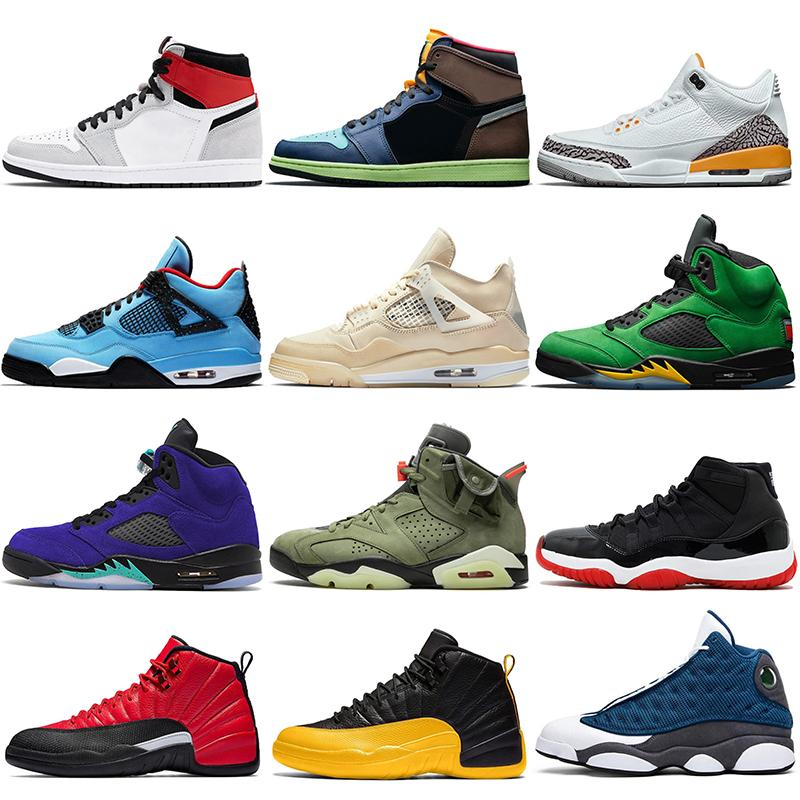 sapatos nike air retro jordan 1 1s off white sail 4 4s travis scott 6 6s Sapatilhas de basquete dos homens das mulheres Jumpman 5 Alternate Grape 5s 8s 12s Royal Flint 13