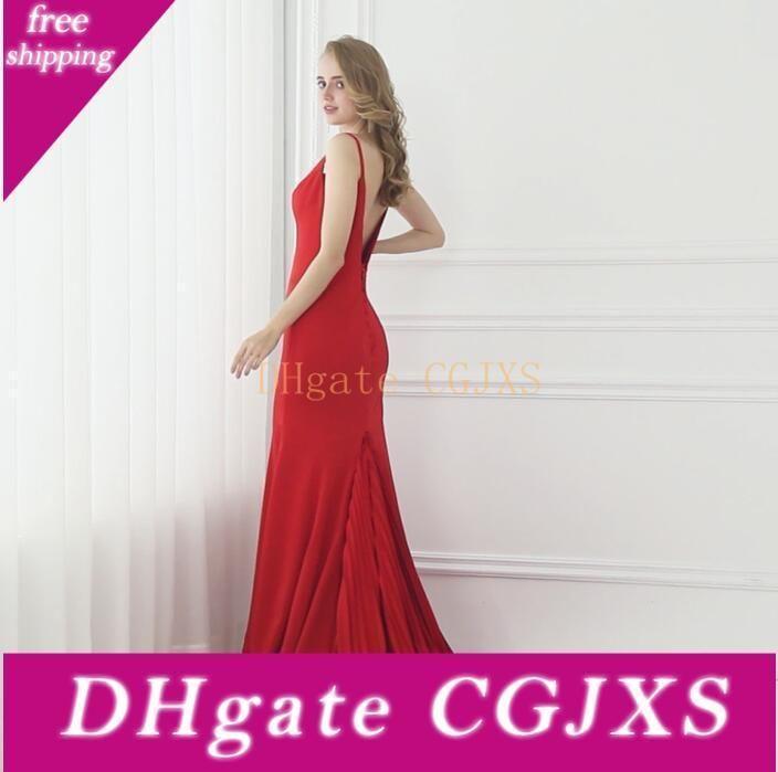 Vestido de noite vermelho longo Backless Sexy baratos de noite formal vestidos no tapete vermelho Crepe Dresses New vestido de baile elegante