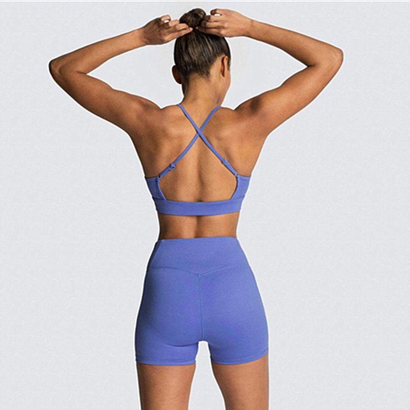 Inconsútil del verano fijaron a las mujeres Deporte Blue Two 2 cabestro pieza del sujetador del deporte de alta pantalones cortos de cintura Yoga Deportivo juego del desgaste del equipo de la gimnasia Entrenamiento Conjunto