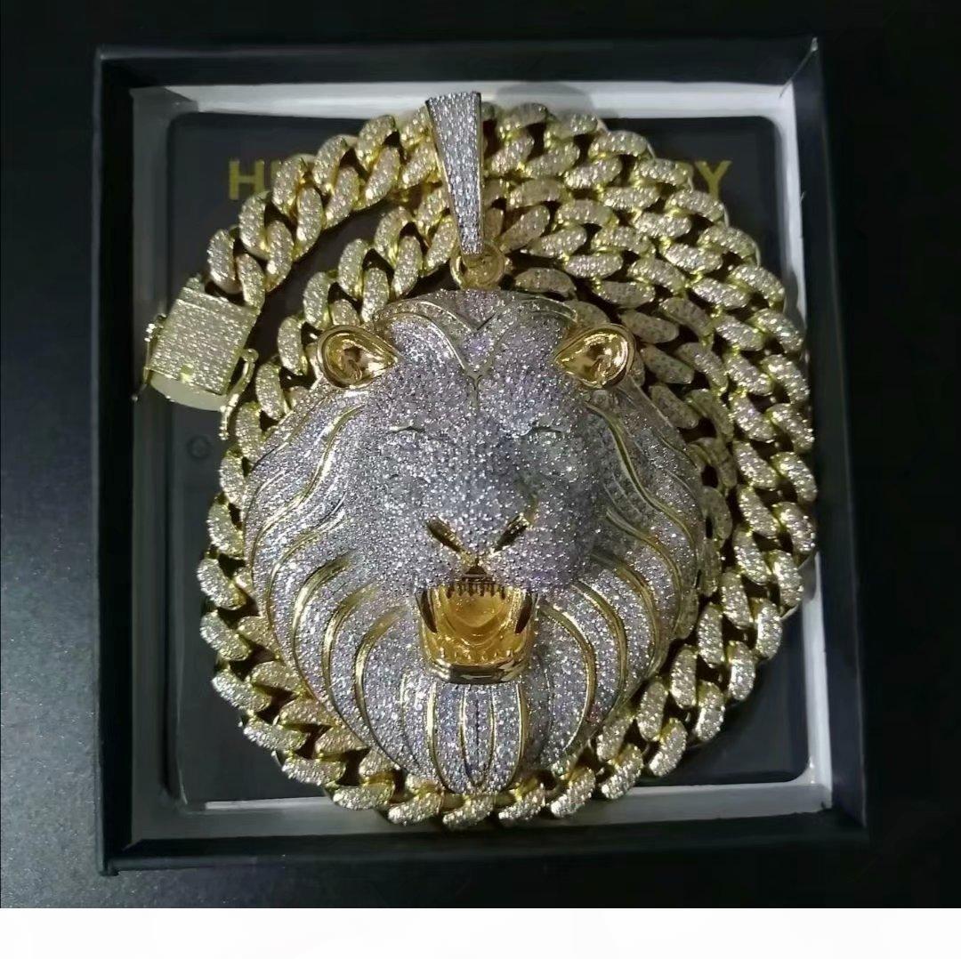 Мужские ювелирные изделия Hip Hop Iced Out Подвеска Роскошная ожерелье Bling Алмазная кубинский Link Chain Big Подвески Lion Animal Рэпер аксессуары