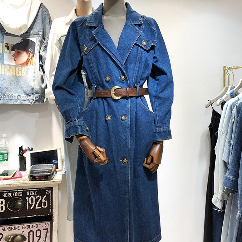 Denim-Graben-Mantel für Frauen Herbst Weinlese-lange Revers zweireihige losen beiläufig Jeans Windjacke Femme Matching Beltw