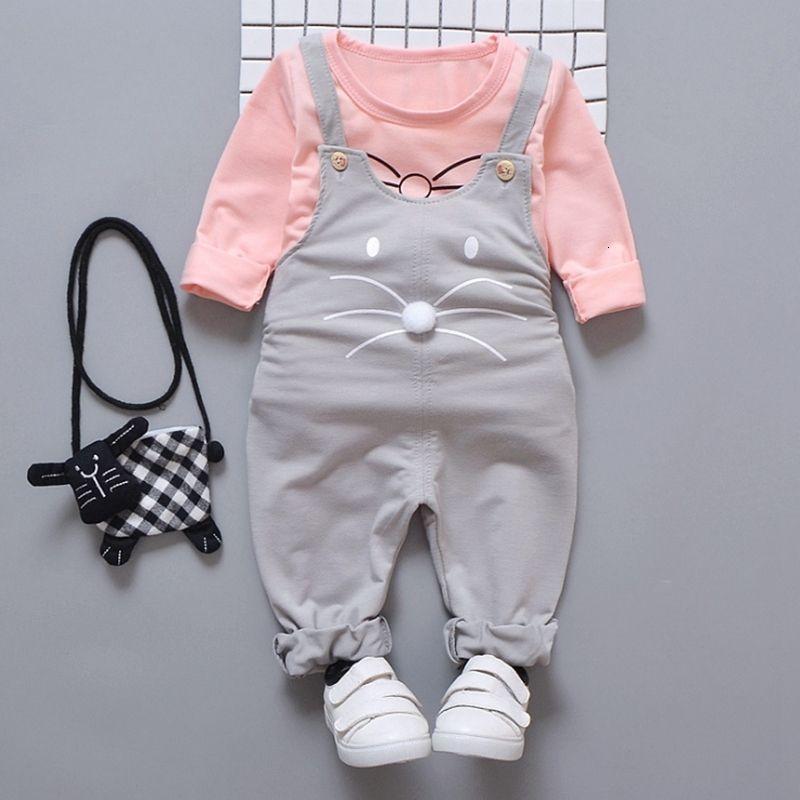 Bambino del bambino vestiti infantili maglietta del ragazzo bretella dei pantaloni 2pcs insiemi del fumetto ragazza appena nata Outfits bambini di autunno Abbigliamento DW4569