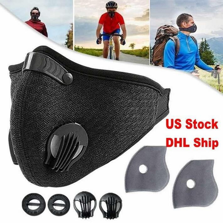 US STOCK Sport-Gesichtsmaske mit Filter Aktivkohle PM 2.5 Anti-Pollution Atemventil laufende Trainings-Bike Schutzmasken