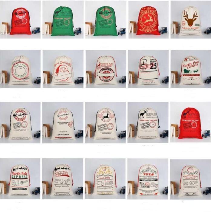 Sacchetti di immagazzinaggio regalo di Natale Babbo Natale Borse Sack sacchetta Monogrammable regalo di Natale Borse bambini favori di partito Box Derocation LSK798