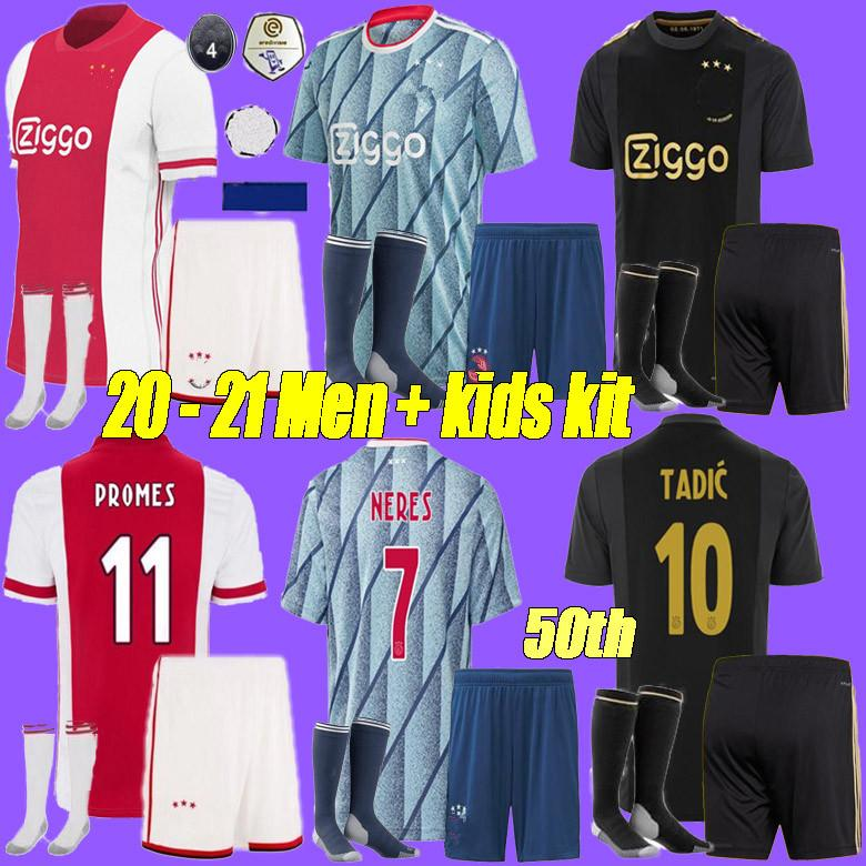 2020 ajax maillot de football FC 50 2020 2021 PROMES VAN DE BEEK DAVID NERES TADIC ZIYECH chemises ajax football hommes + kit enfants