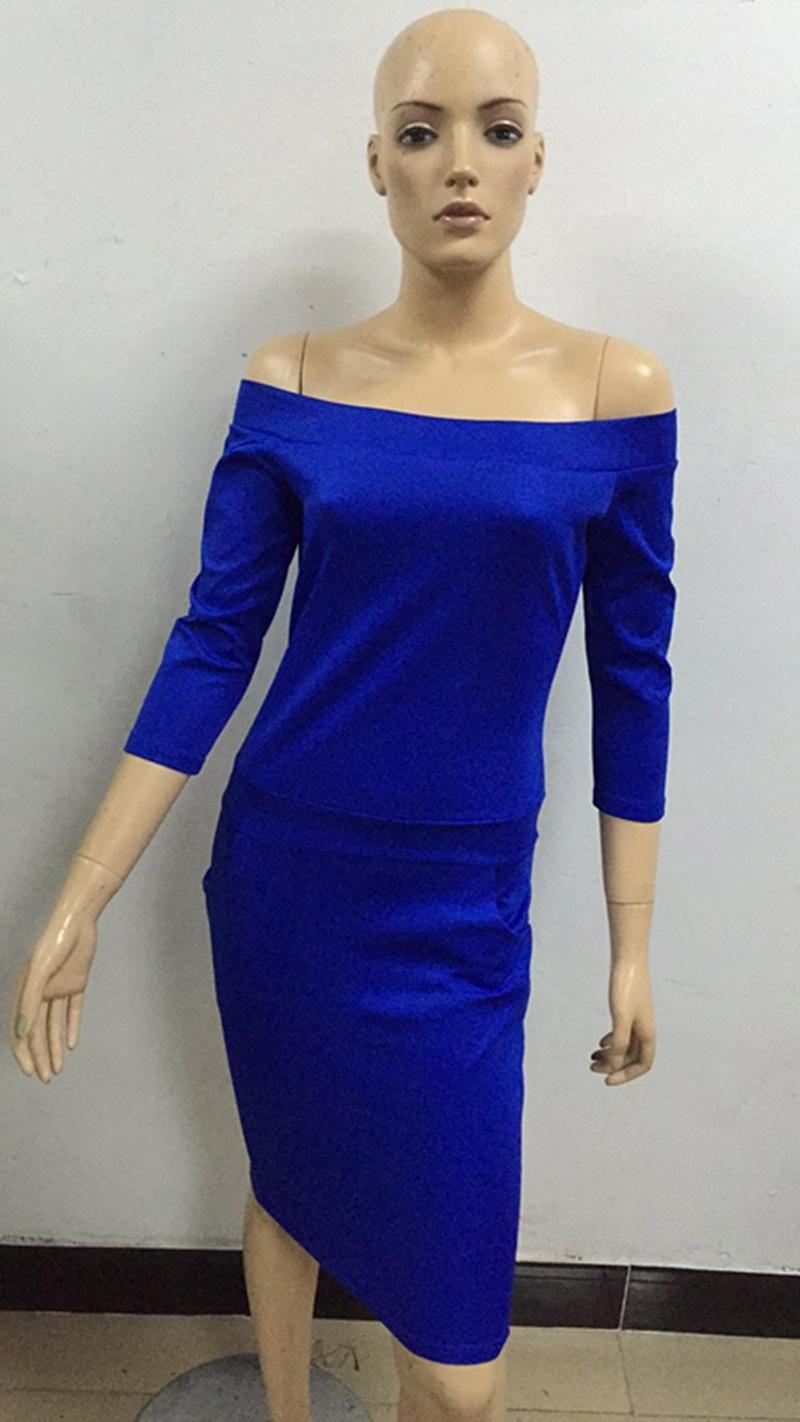 vestido de la cadera de las nuevas mujeres del vestido atractivo de una sola línea de la cintura del collar de bolsillo de manga larga A1188 gOevg
