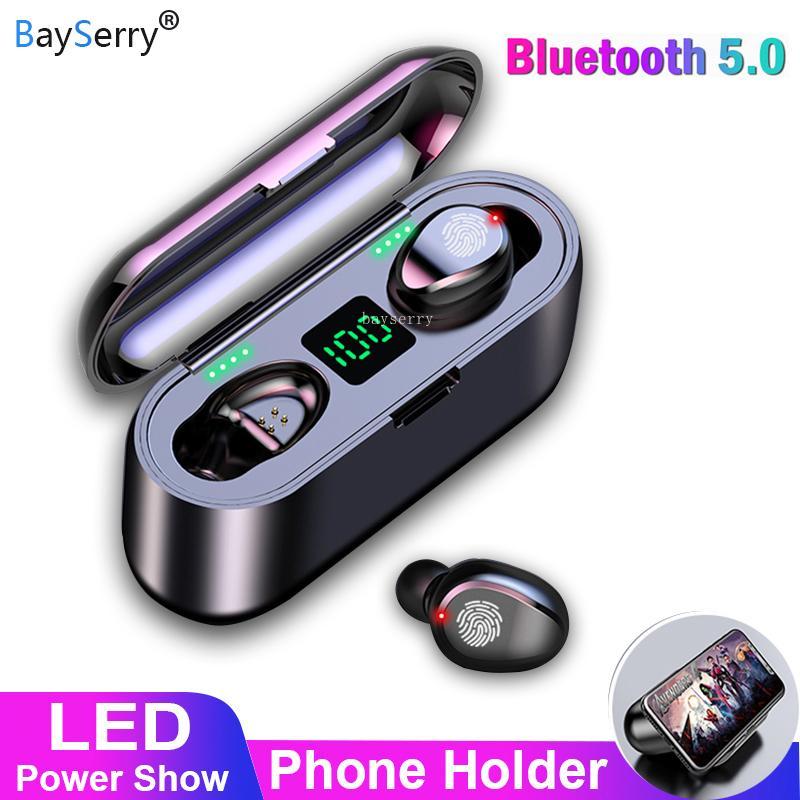 Auscultadores sem fios TWS Bluetooth 5.0 com microfone estéreo Sport Music sem fio Fones de ouvido Headset Com 2000mAh LED Power Bank