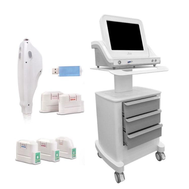 HIFU Güzellik Makinesi Salon Kullanımı Yüksek Yoğunluklu Beden Zayıflama Makinesi 5 Kartuşları Sıkma Ultrason Skin Odaklı