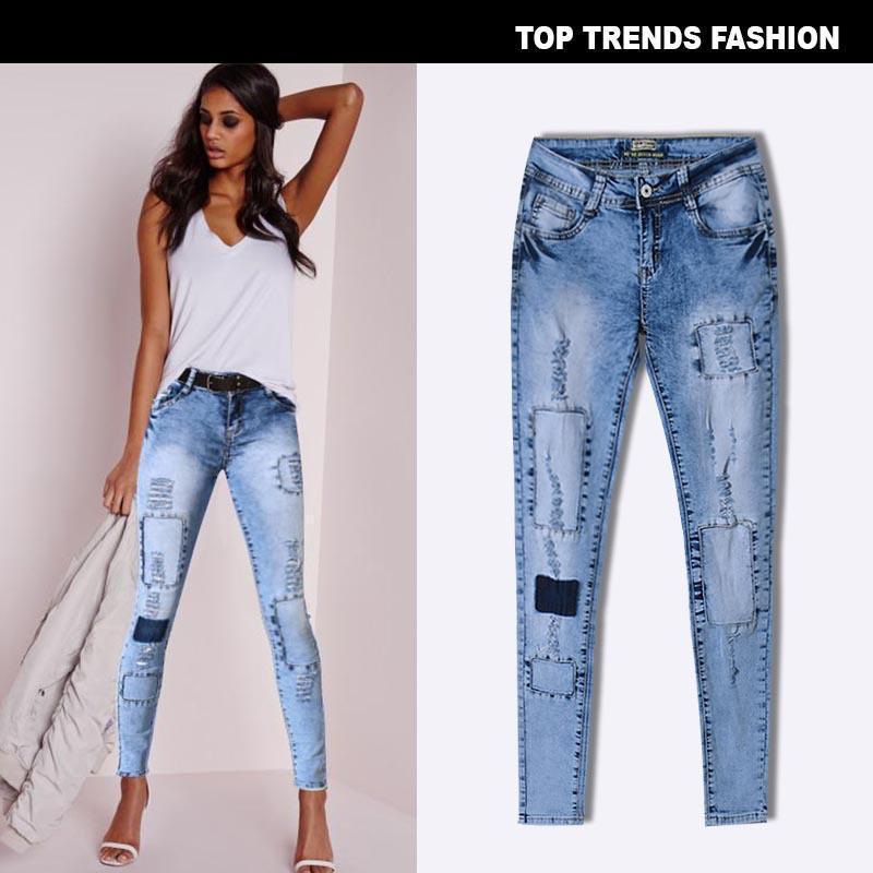 Rasgada para Agujeros mujeres Skinny Jeans delgado caliente para mujer Femme tendencia de la moda de Nueva elástico remiendo con múltiples orificios Pantalones Ropa